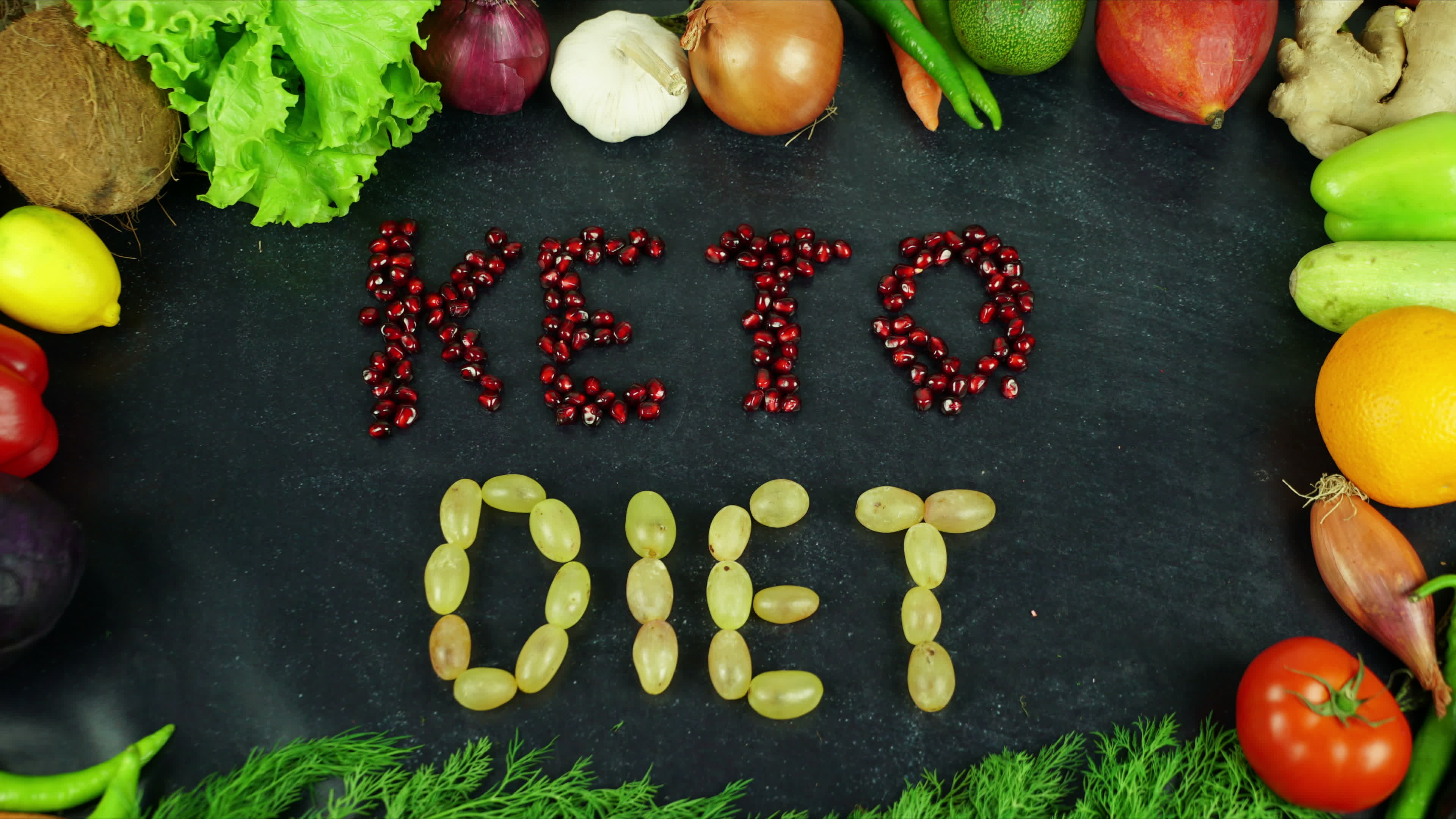 Fruits and veggies spelling out the words 'keto diet'
