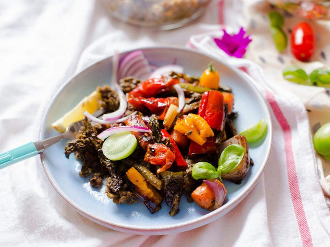 Vegan Smashed Lentils with Grilled Vegetables