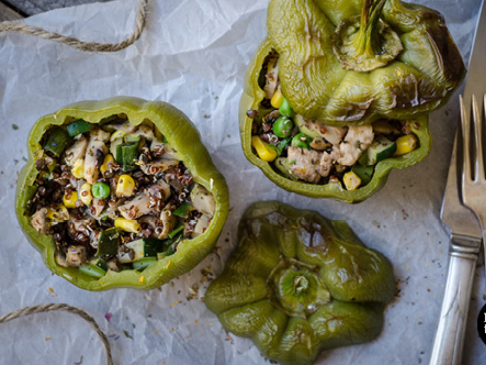 Stuffed Lentil, Quinoa and Mushroom Capsicum