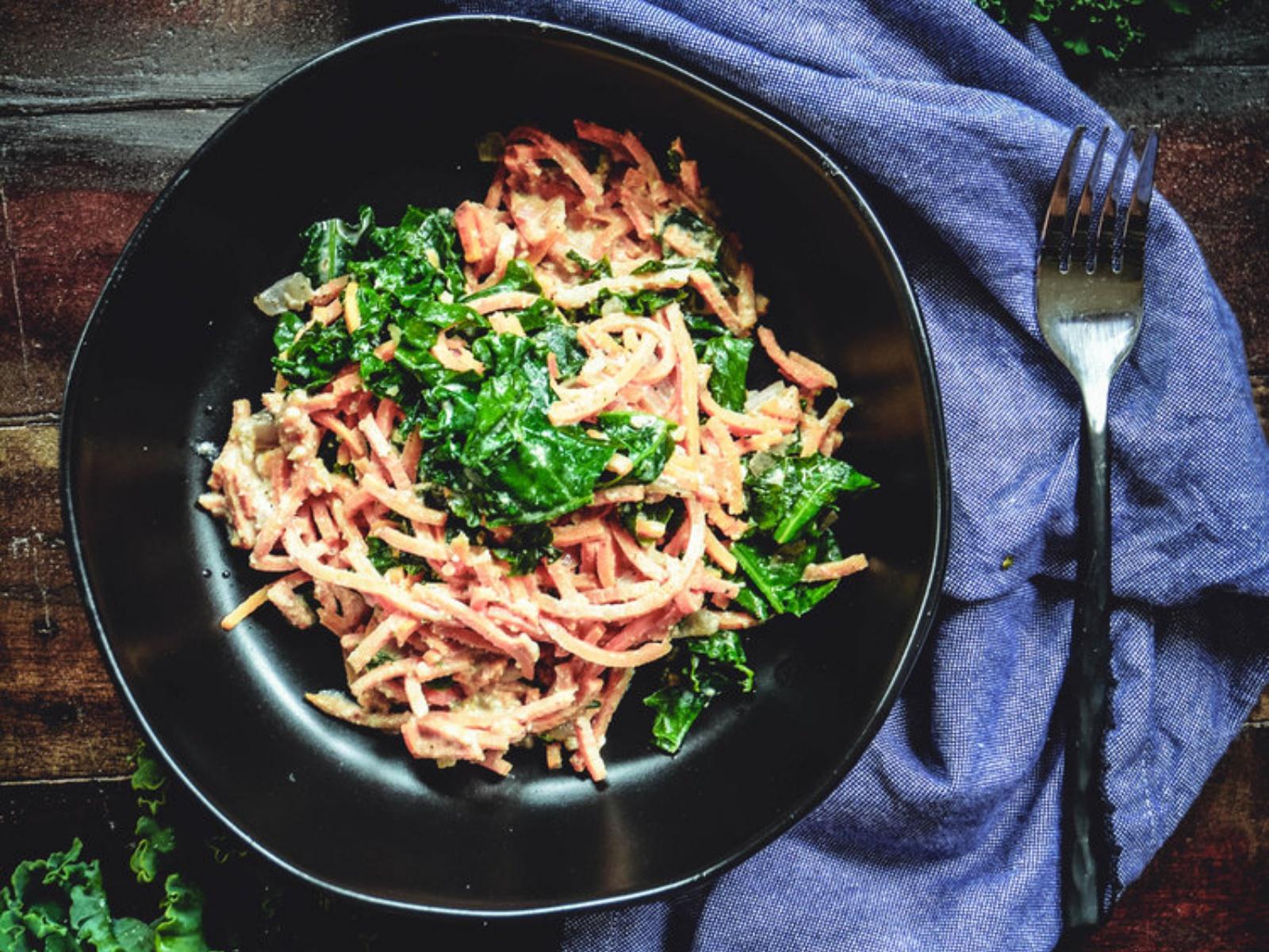 Sweet Potato Noodles with Kale and Walnut Sage Sauce