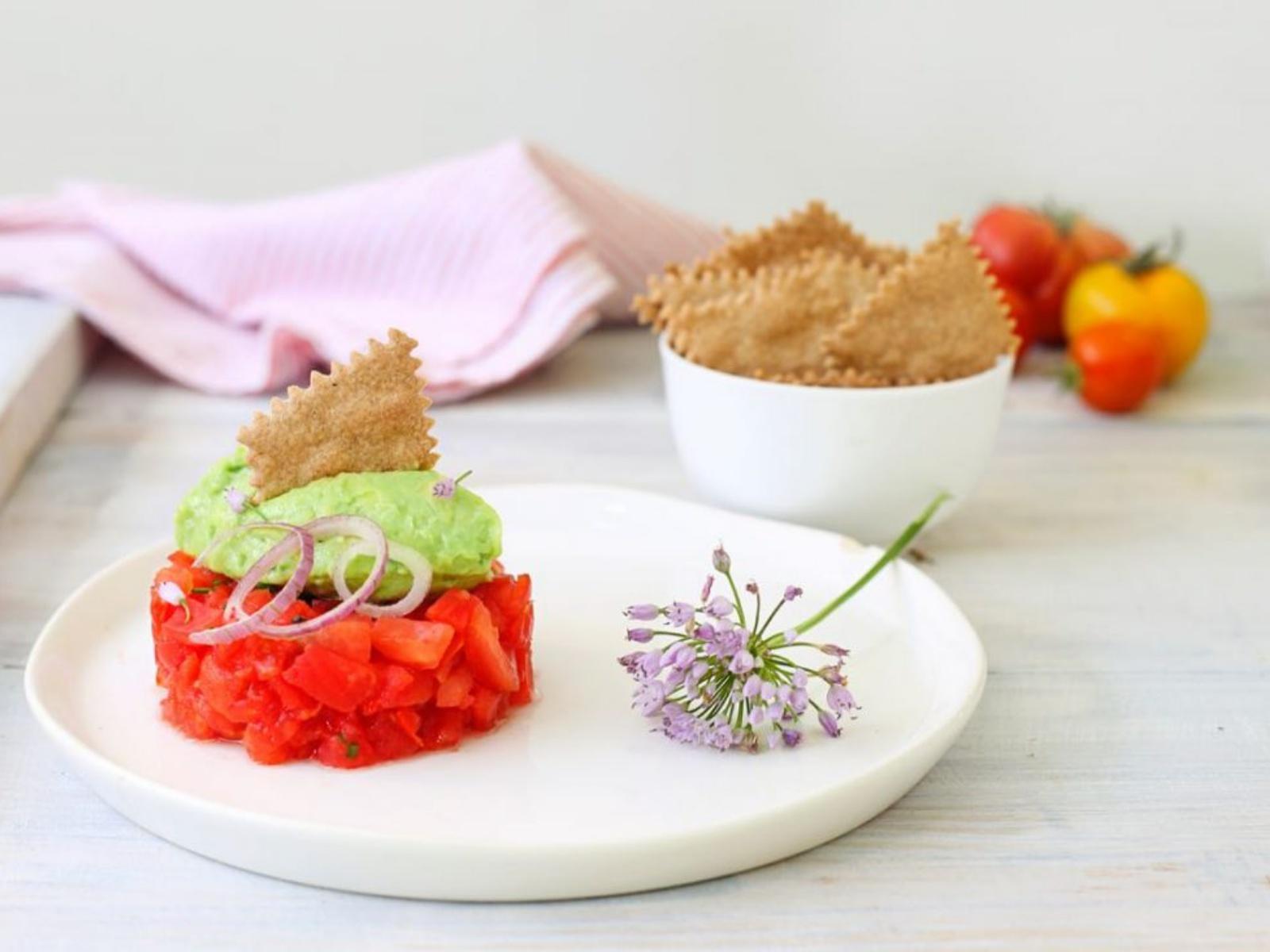 Tomato Tartare with Avocado Cream and Amaranth Leaves