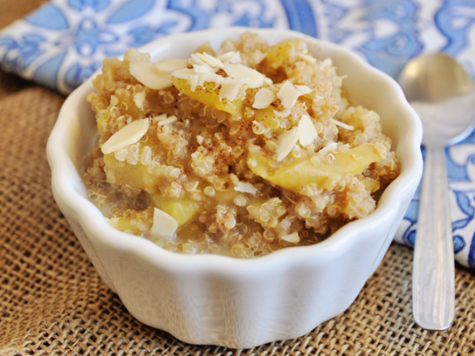 Quinoa Breakfast Bowl with Cinnamon Apples and Agave