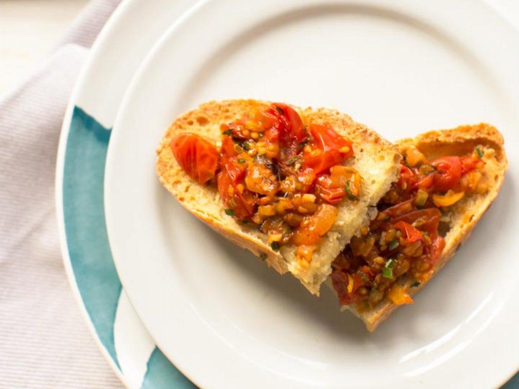 Vegan Oven Roasted Tomato Bruschetta
