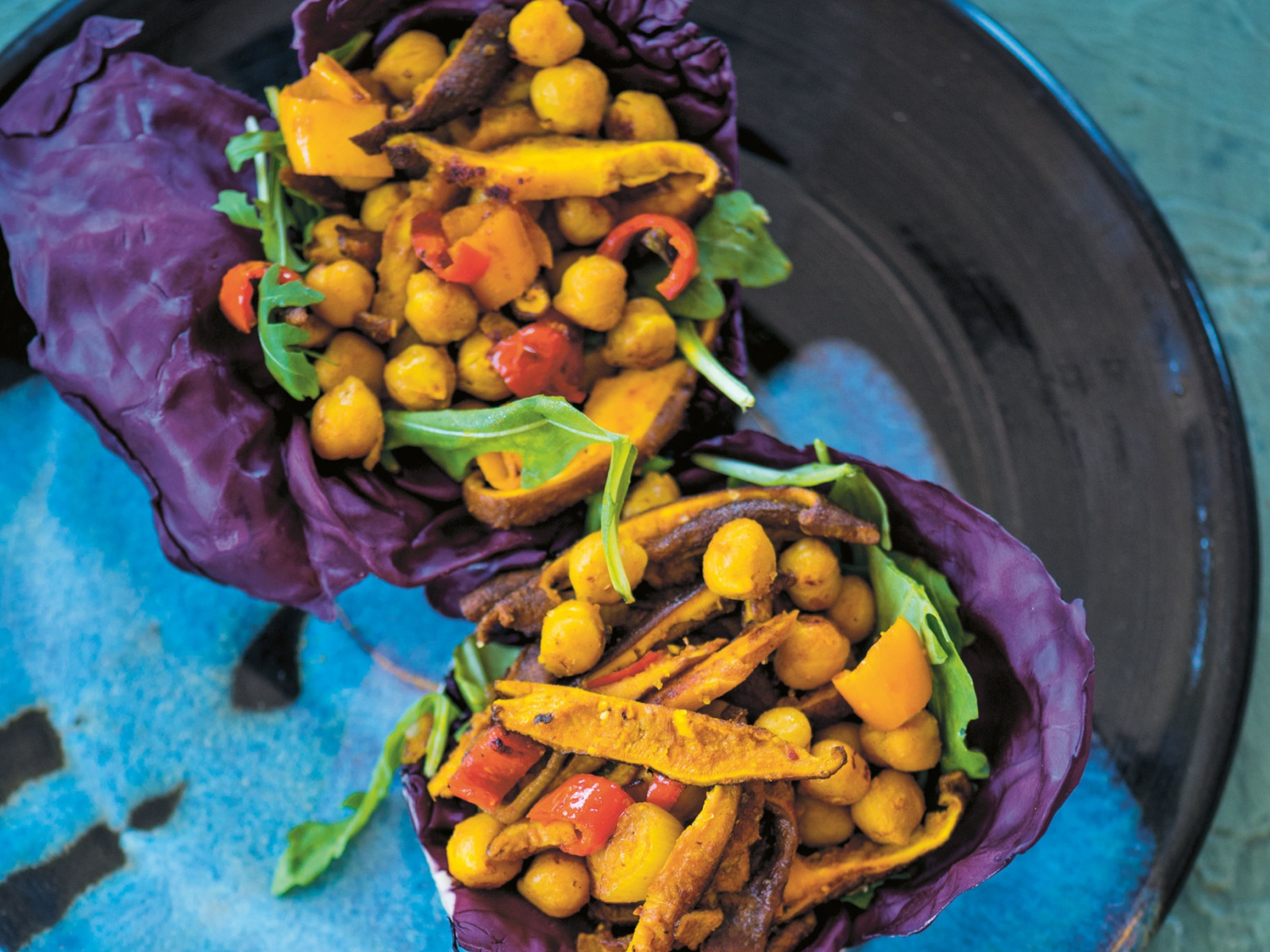 Purple Cabbage Chickpea Boats