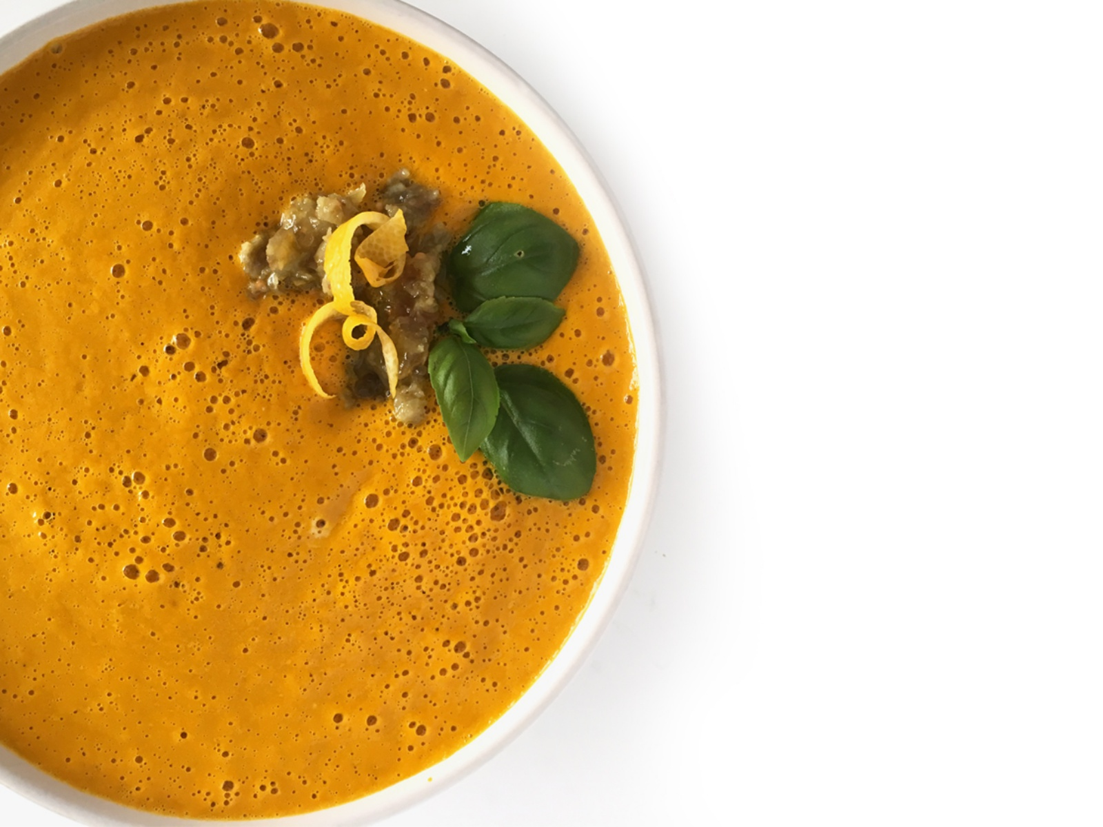 Carrot Ginger Soup with Curried Raisin Relish