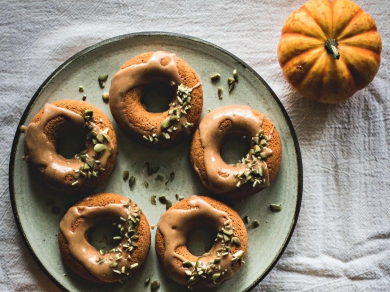 Chai Spiced Pumpkin Doughnuts with Vanilla Cashew Butter Glaze