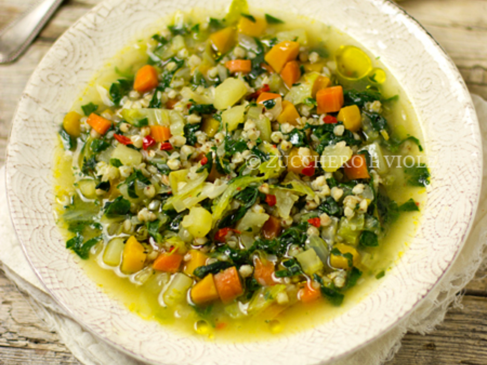 Minestrone Soup with Pumpkin and Buckwheat