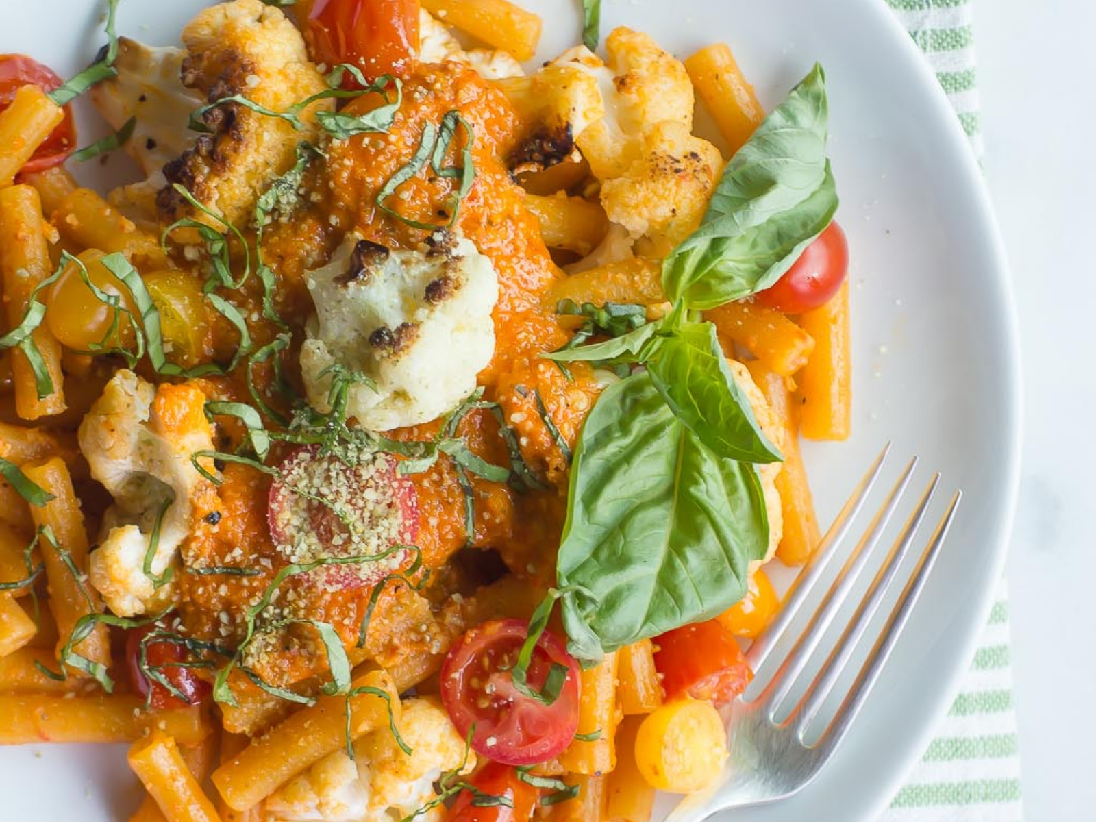 Vegan Penne with Roasted Red Pepper Pesto