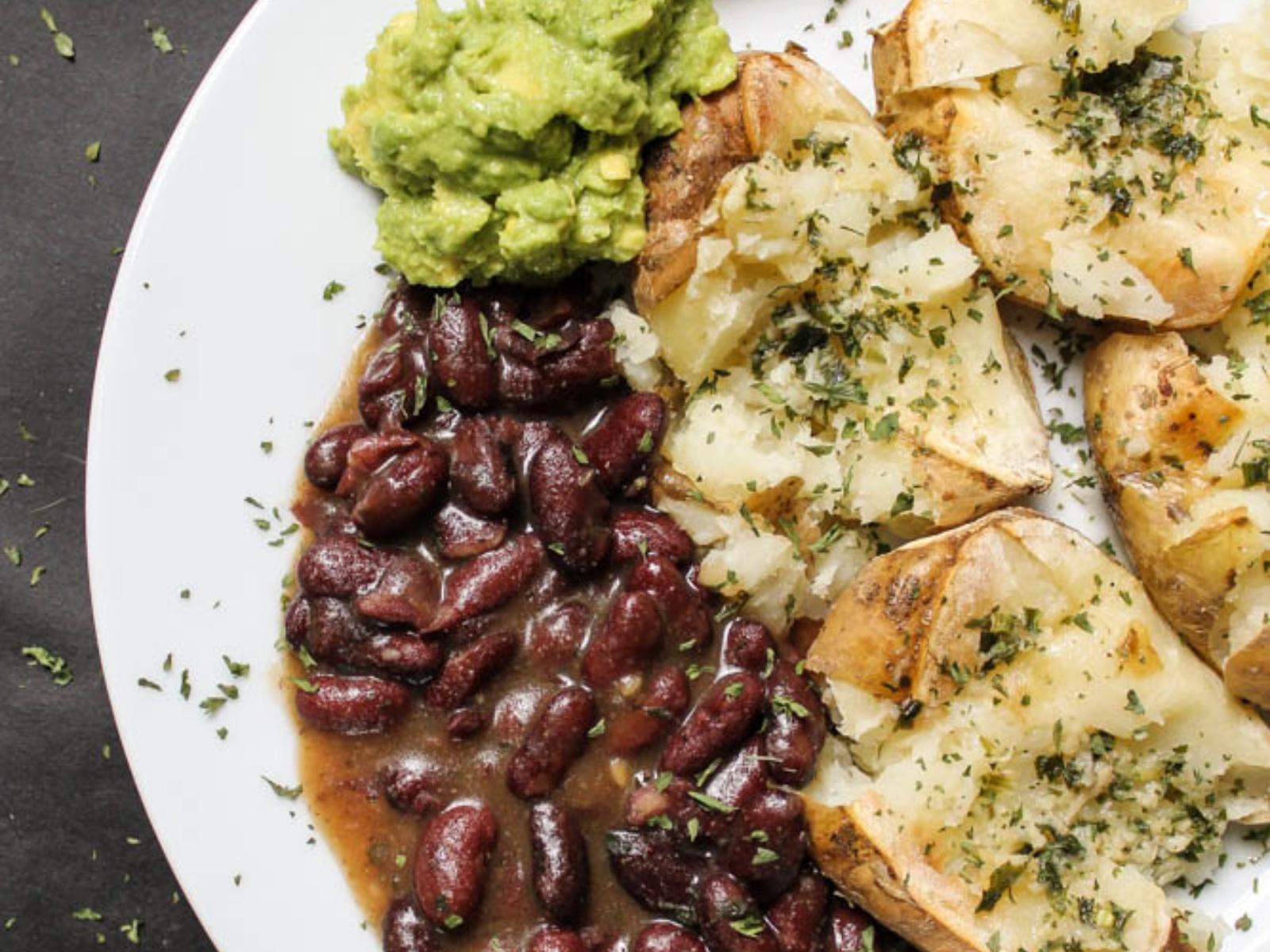 Vegan Garlic Smashed Potatoes with Baked Beans