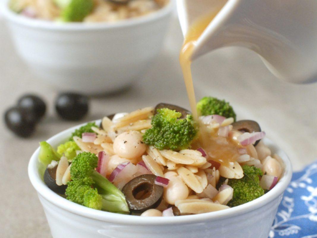 Vegan Broccoli and Olive Orzo Salad with Red Wine Vinaigrette