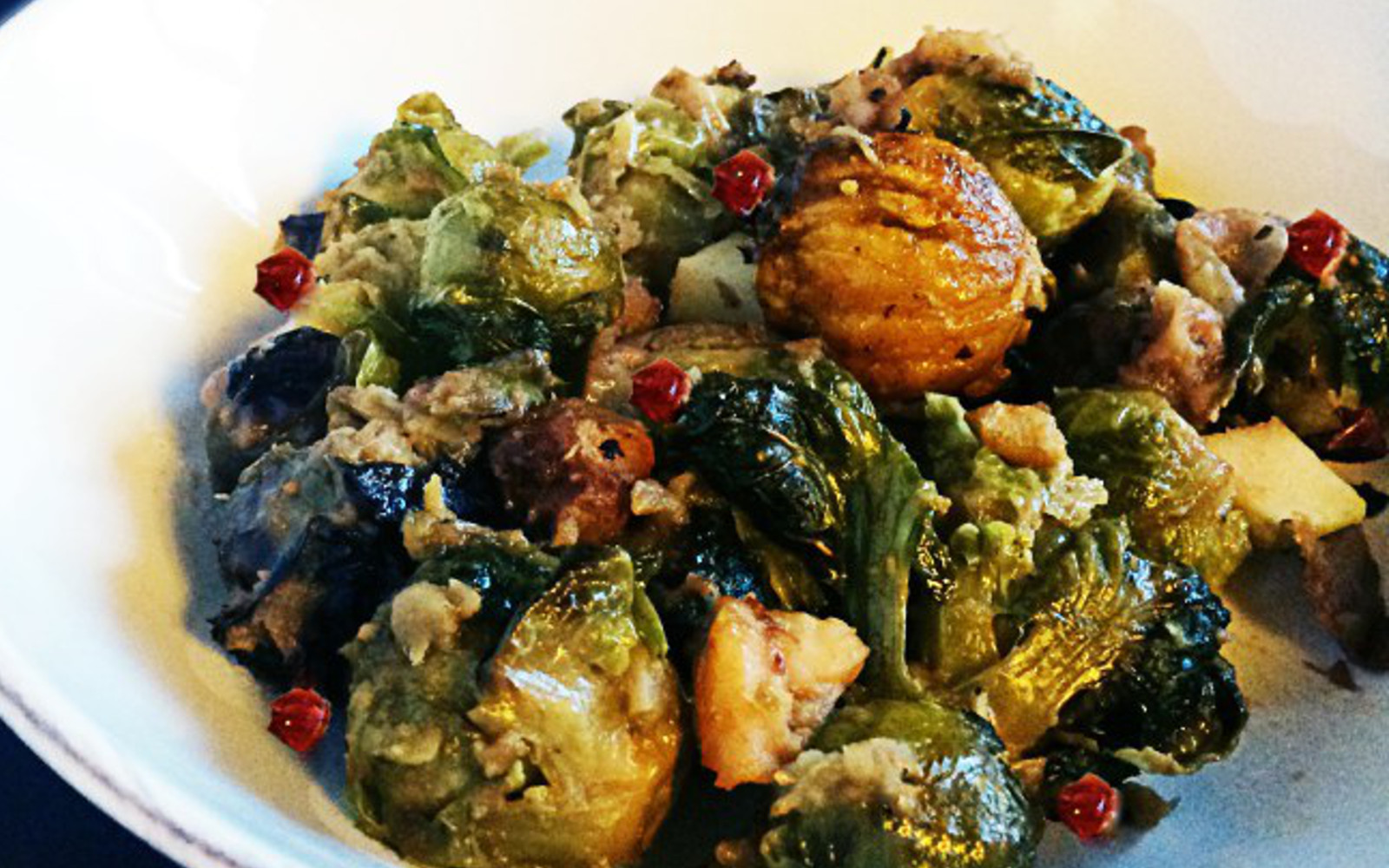 Roasted Brussels sprouts with apples and chestnuts