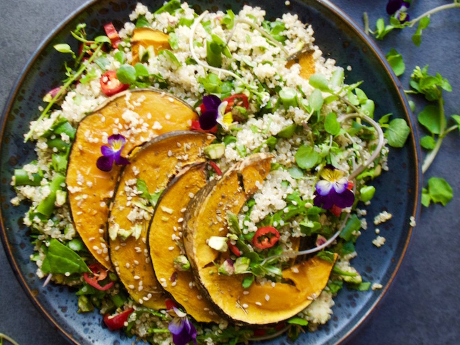 Simple Green Quinoa Salad with Roast Pumpkin