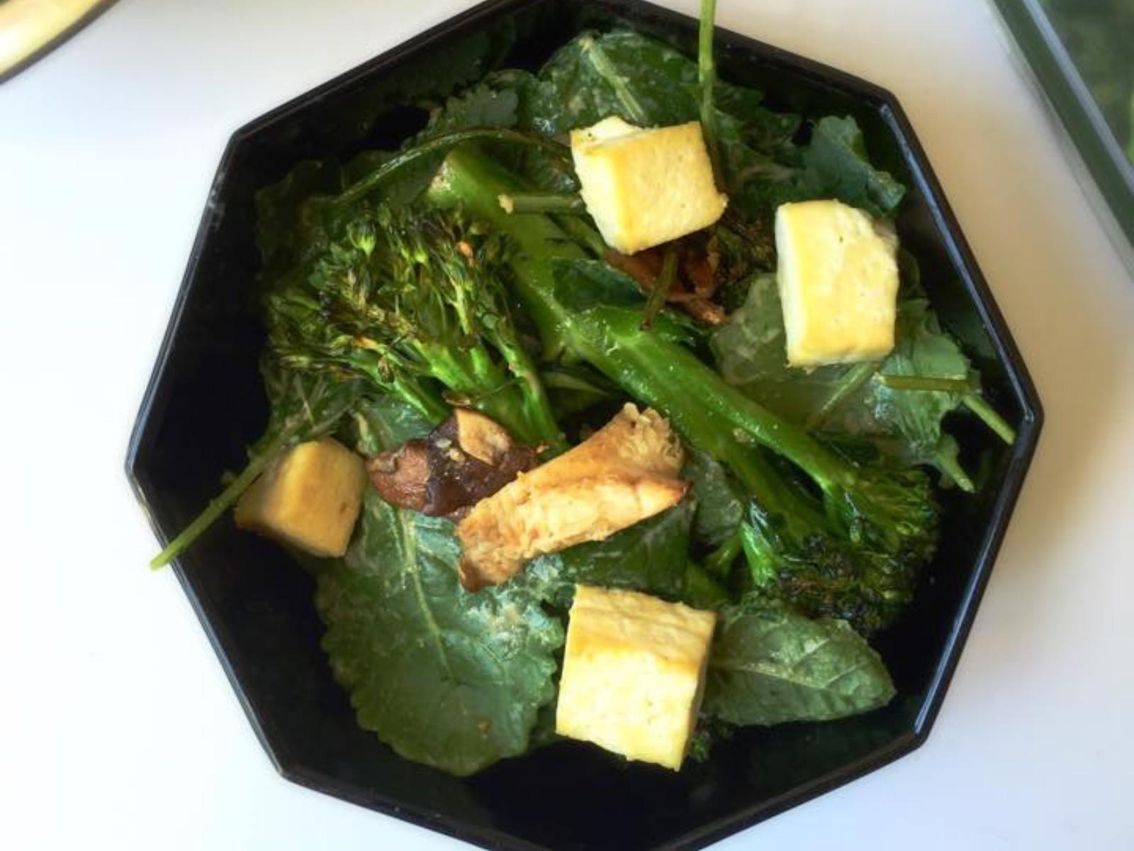 Warm Broccolini and Shiitake Baby Kale Salad