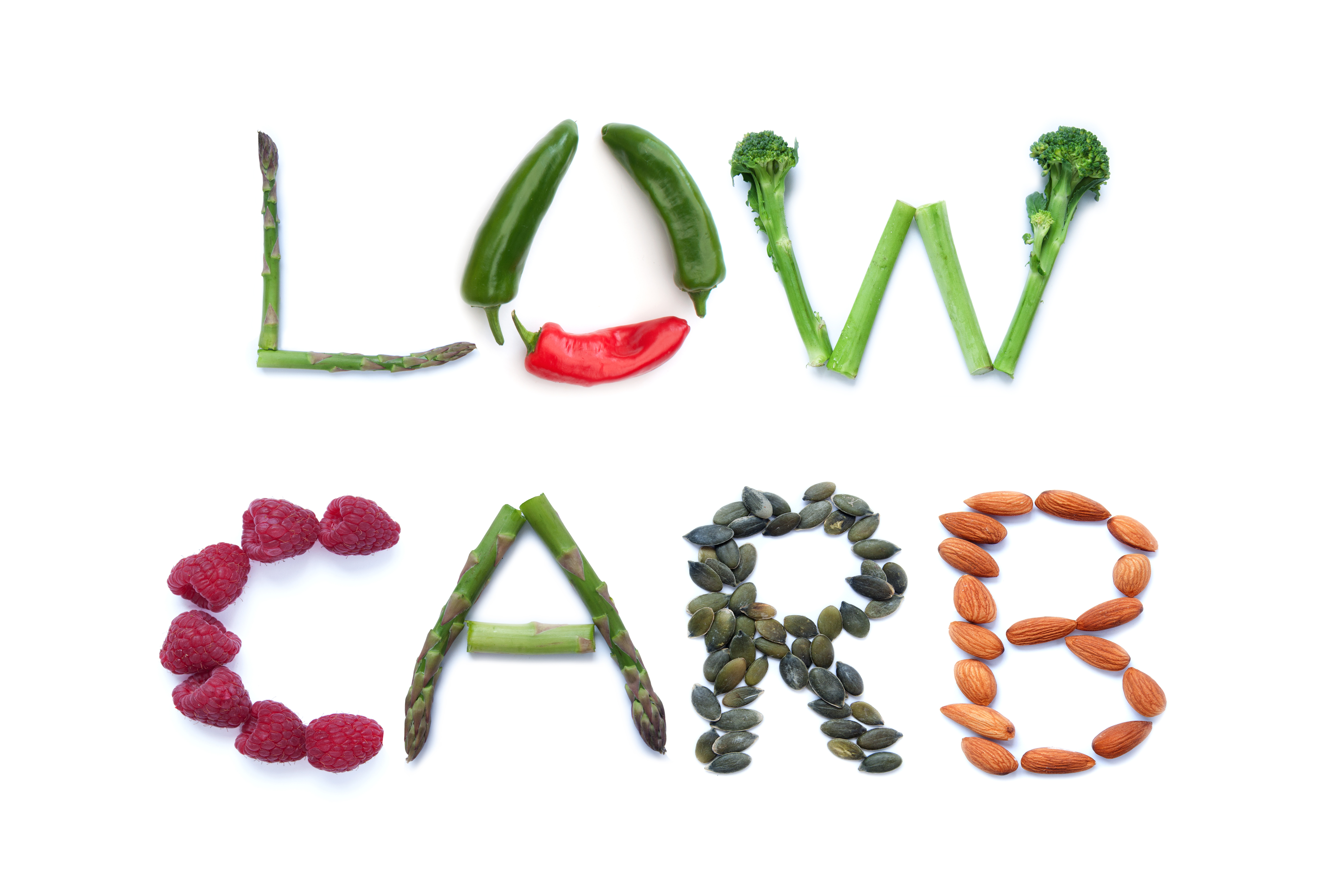 Vegetables spelling out the words low-carb
