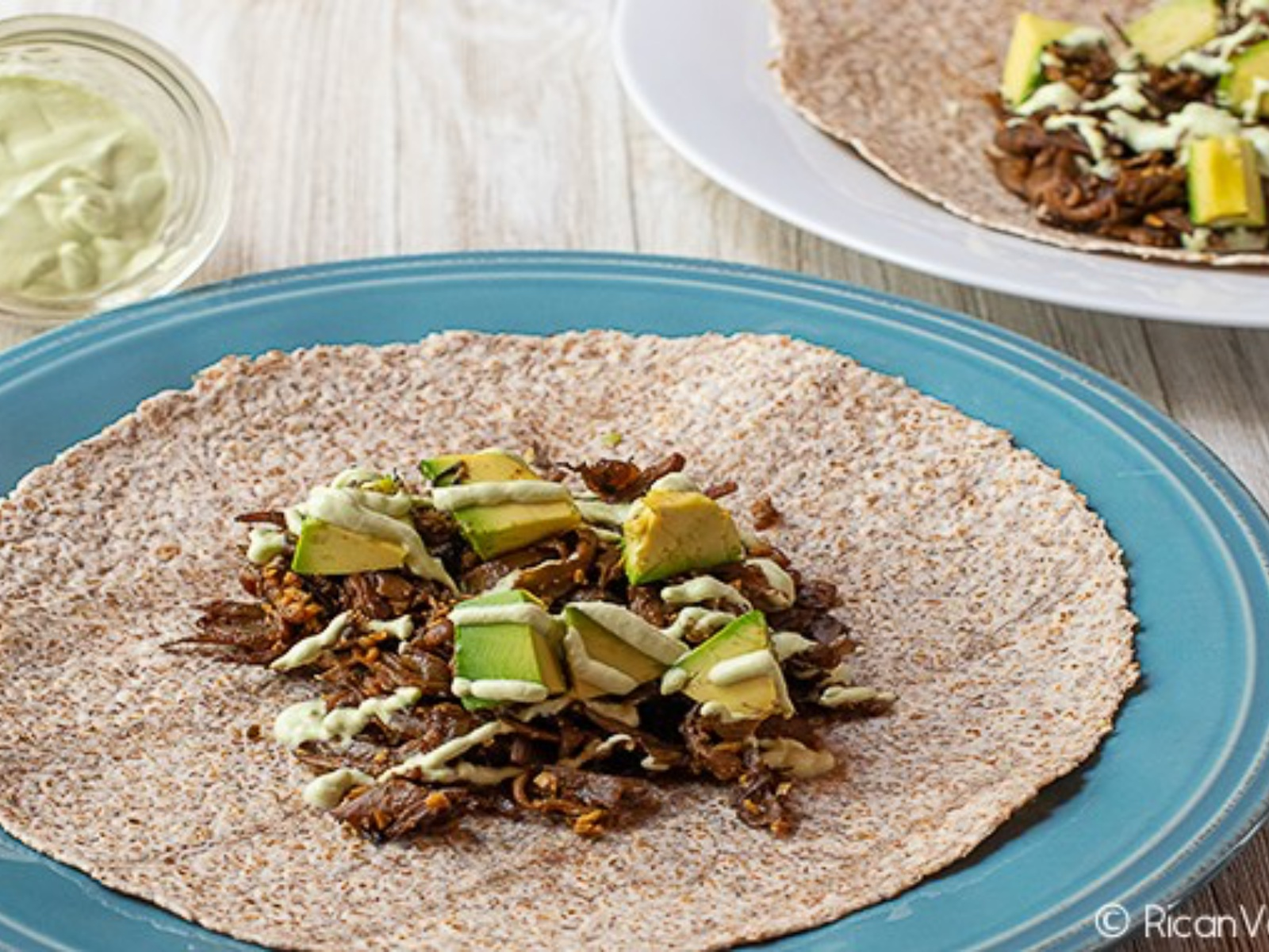 Mushroom Carnitas Tacos with Cilantro Lime Crema