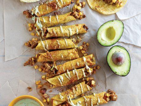 Taquitos with Avocado Sauce