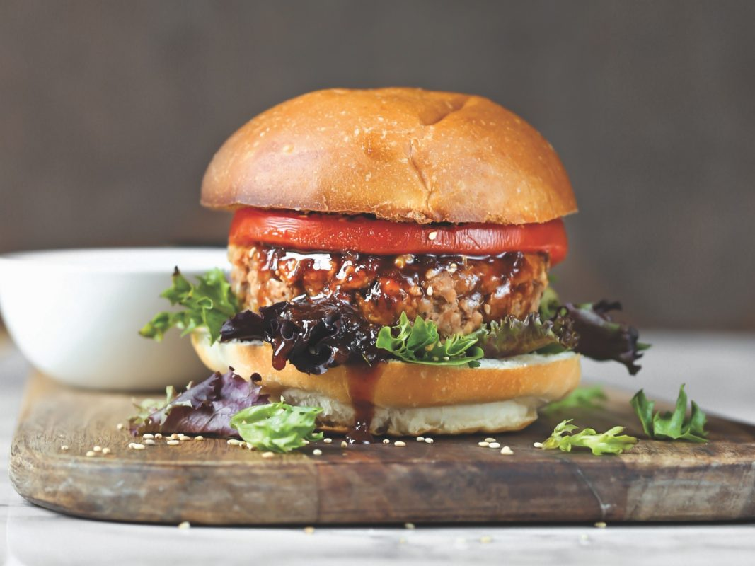 Vegan teriyaki burger patties