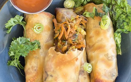 Baked Vegan Spring Rolls made with Brussels Sprouts and Sweet Potatoes