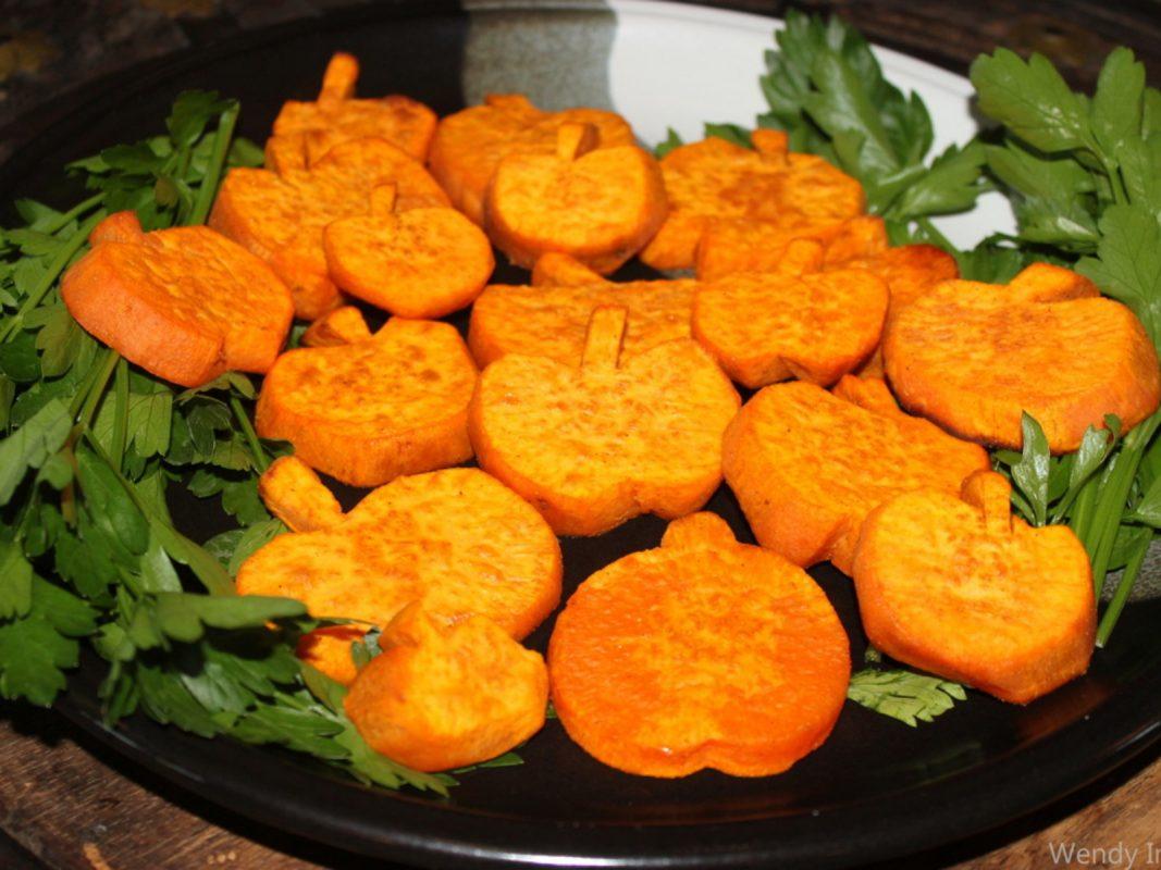 Pumpkin Shaped Roasted Sweet Potatoes