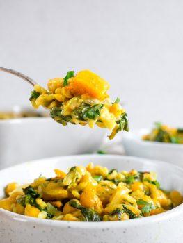 Brown Rice Casserole with Curry Butternut Squash [Vegan, Gluten-Free]