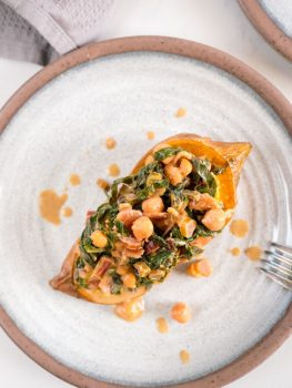 Coconut Greens and Chickpea Loaded Sweet Potato