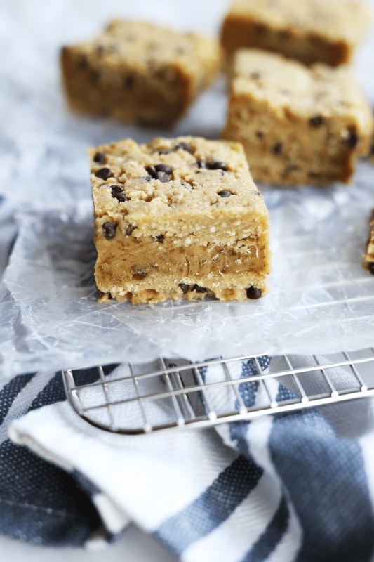 Vegan Chocolate Chip Cookie Dough Caramel Bars