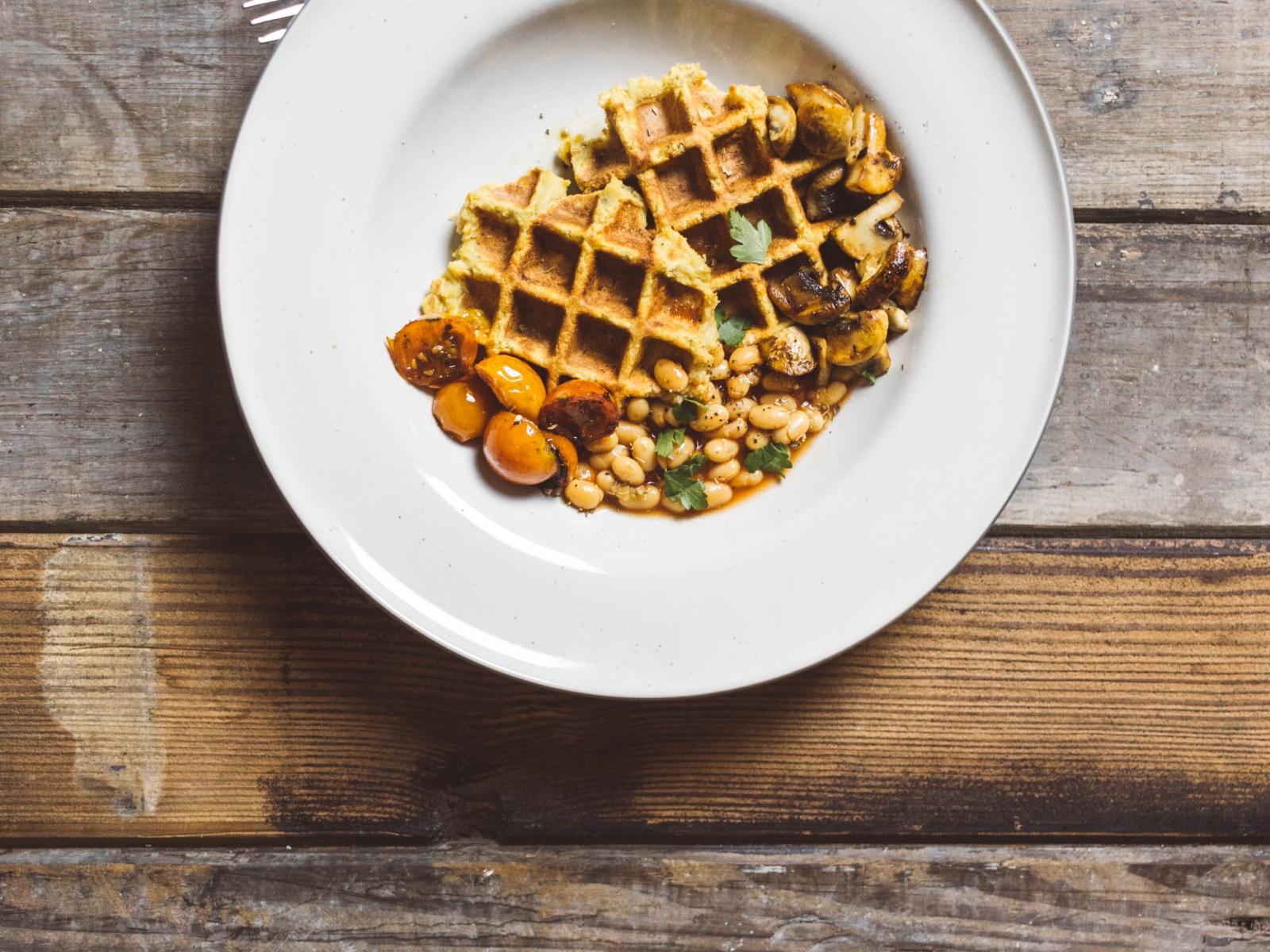 Vegan sweet potato waffles