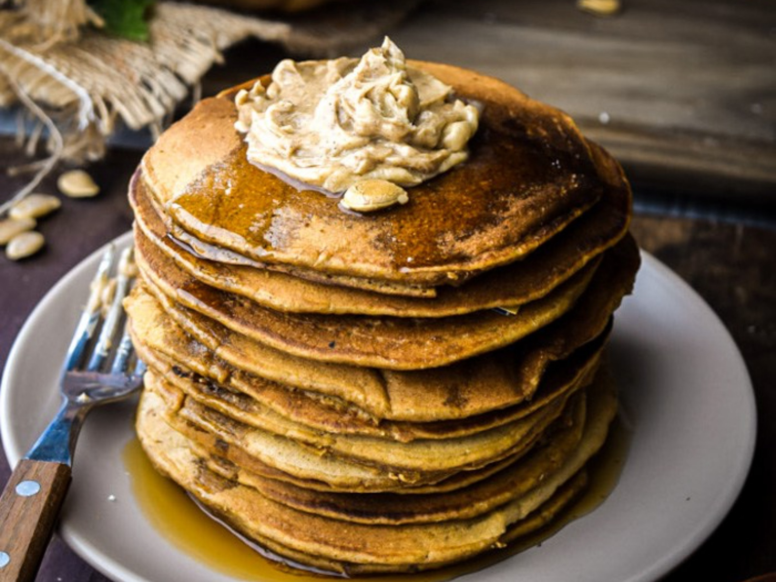 Oaty Whole Wheat Pumpkin Pancakes with Maple Cinnamon Butter