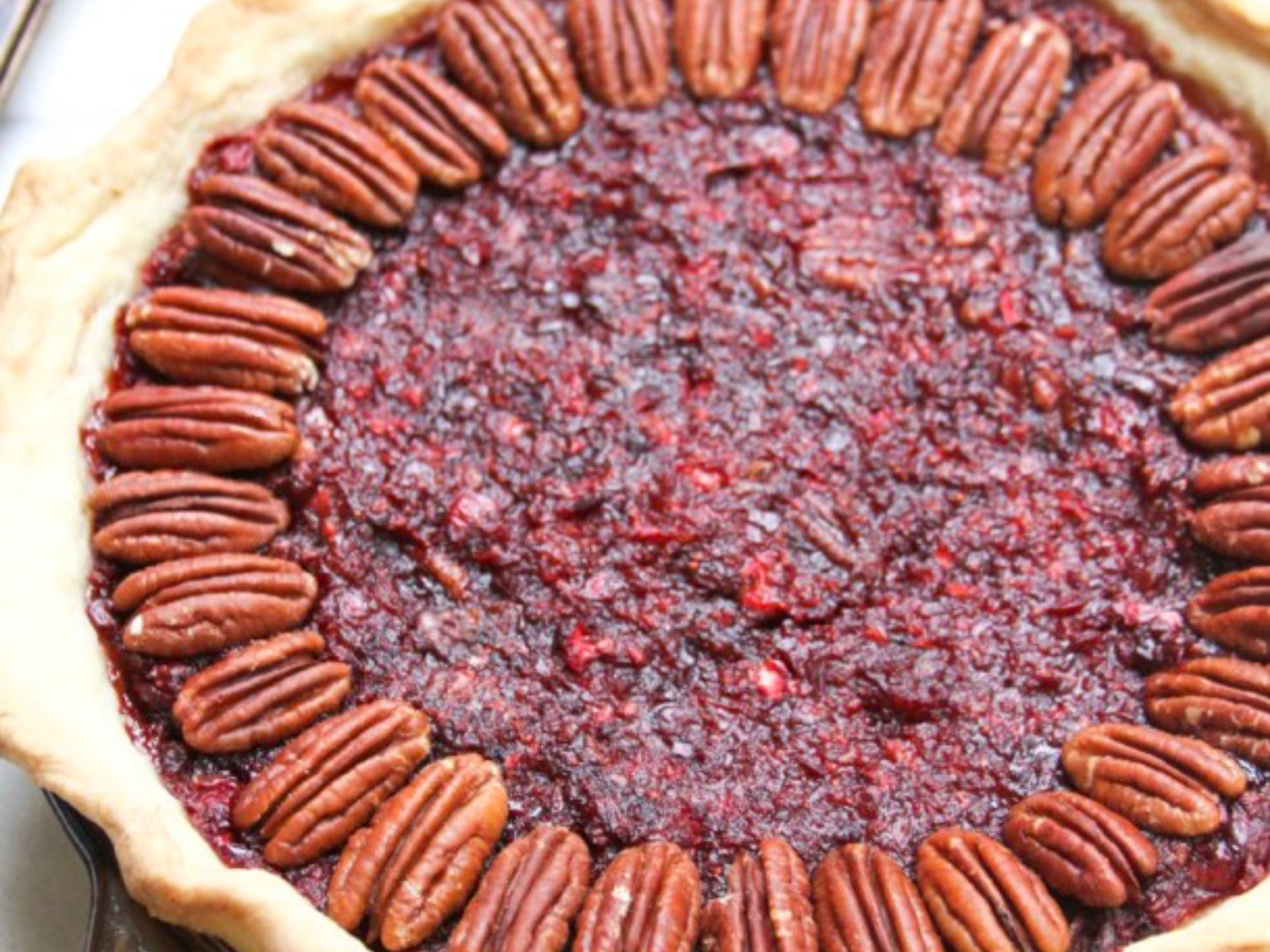 Cranberry Pecan Pie with Candied Pecans [Vegan]