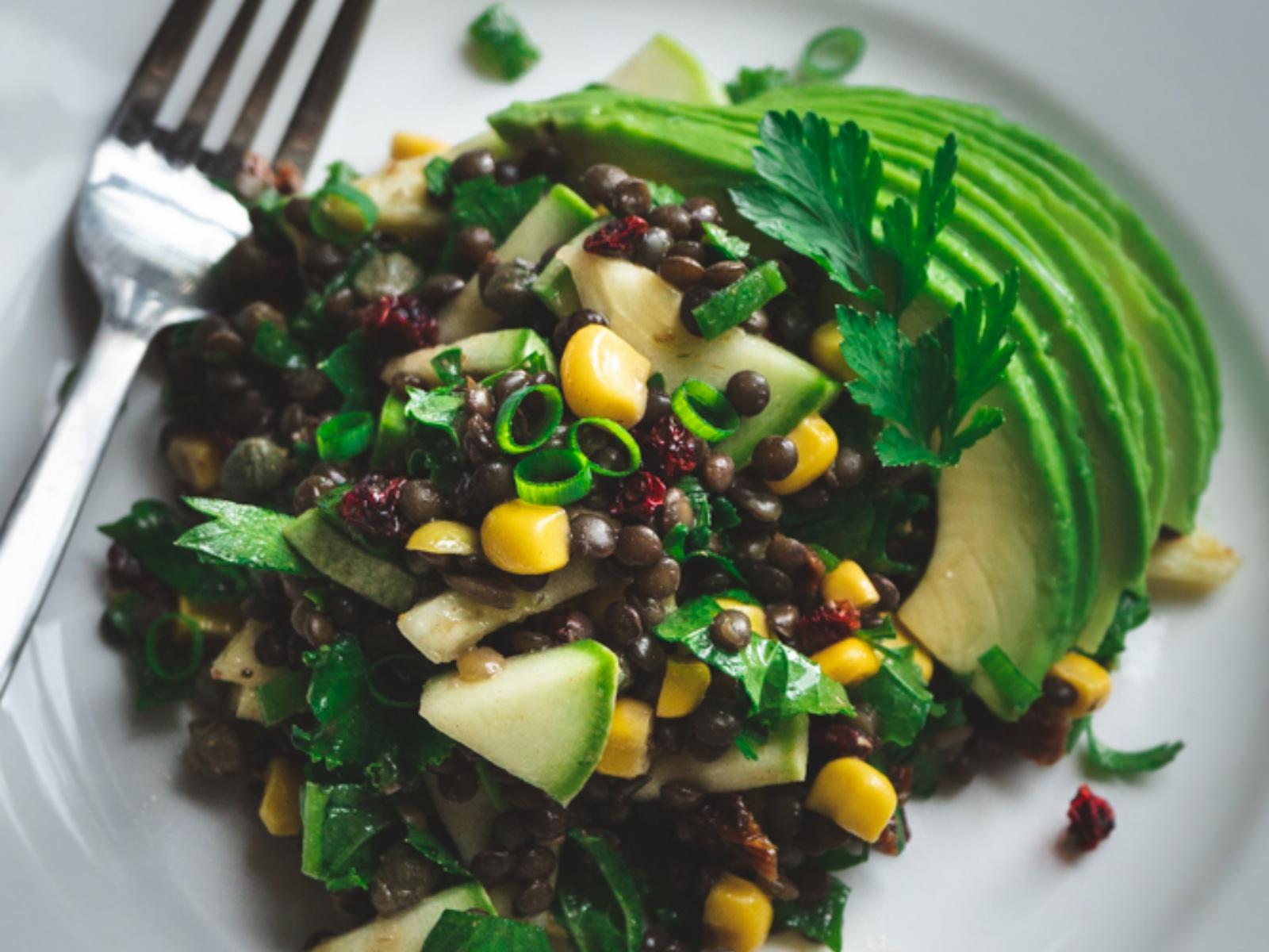 Lentil Salad with Crunchy Veggies and Herbs [Vegan]