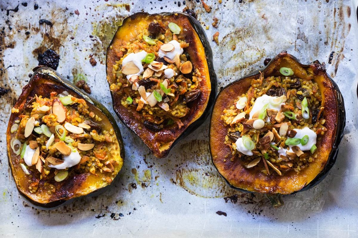 Vegan Stuffed Acorn Squash with Bulgur Pilaf