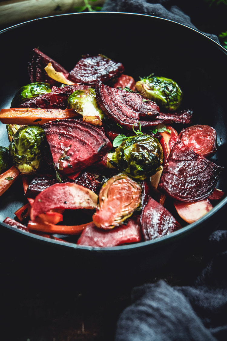 Maple Dijon Thyme Roasted Vegetables [Vegan]