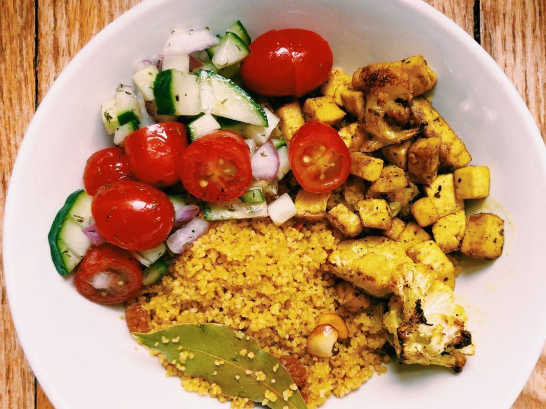 Vegan Golden Couscous Bowl with Tomato Salad
