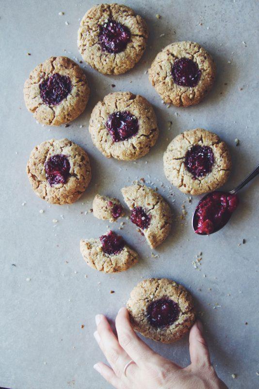 Vegan Berry Chia Jam Thumbprint Cookies