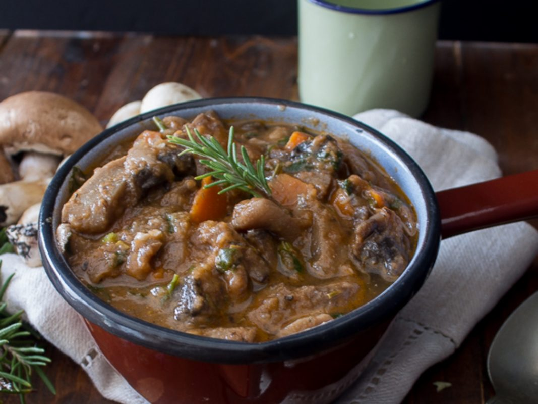 high-protein meaty stewed mushrooms