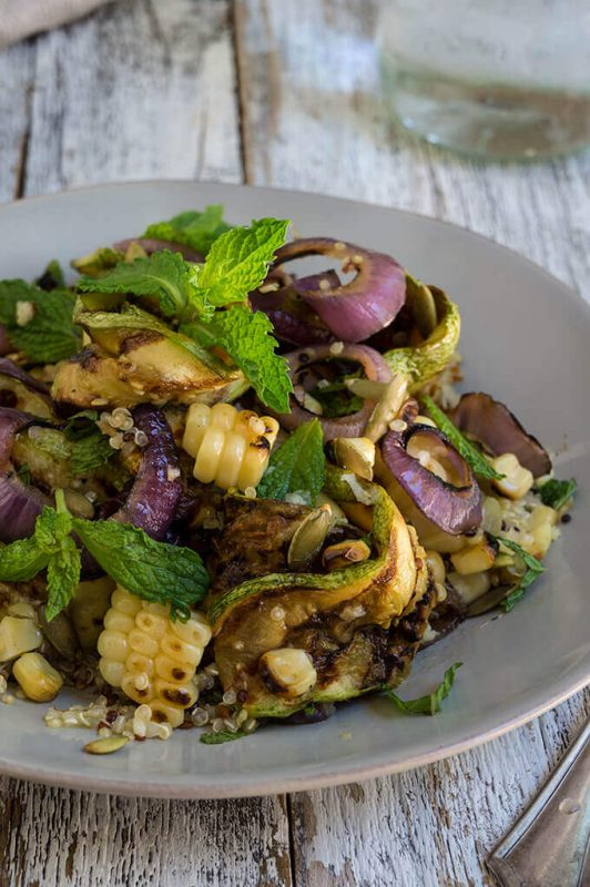 Vegan Grilled Zucchini and Corn Quinoa Salad With Toasted Pepitas and Lemon Mint Dressing