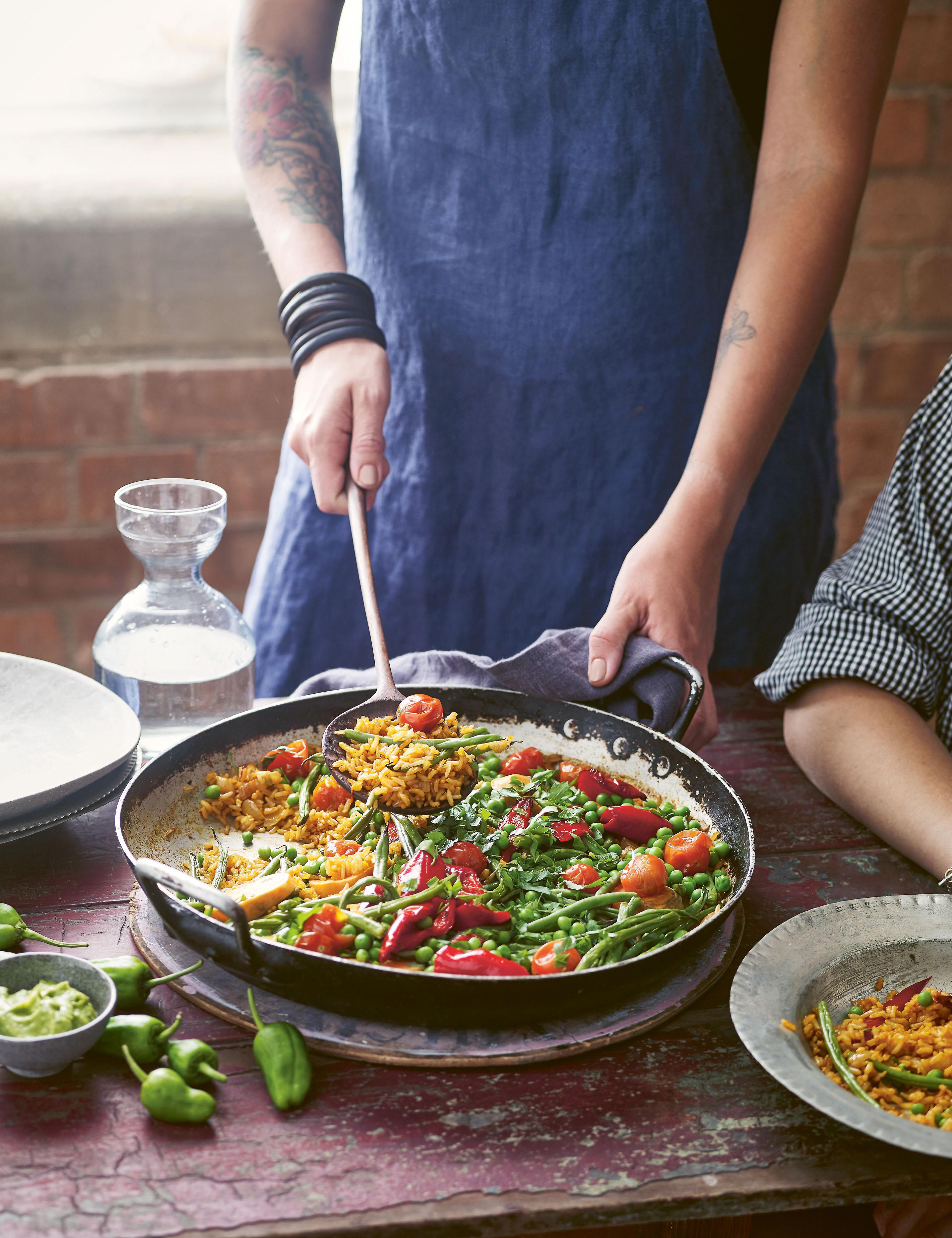 vegetable paella and avo aioli