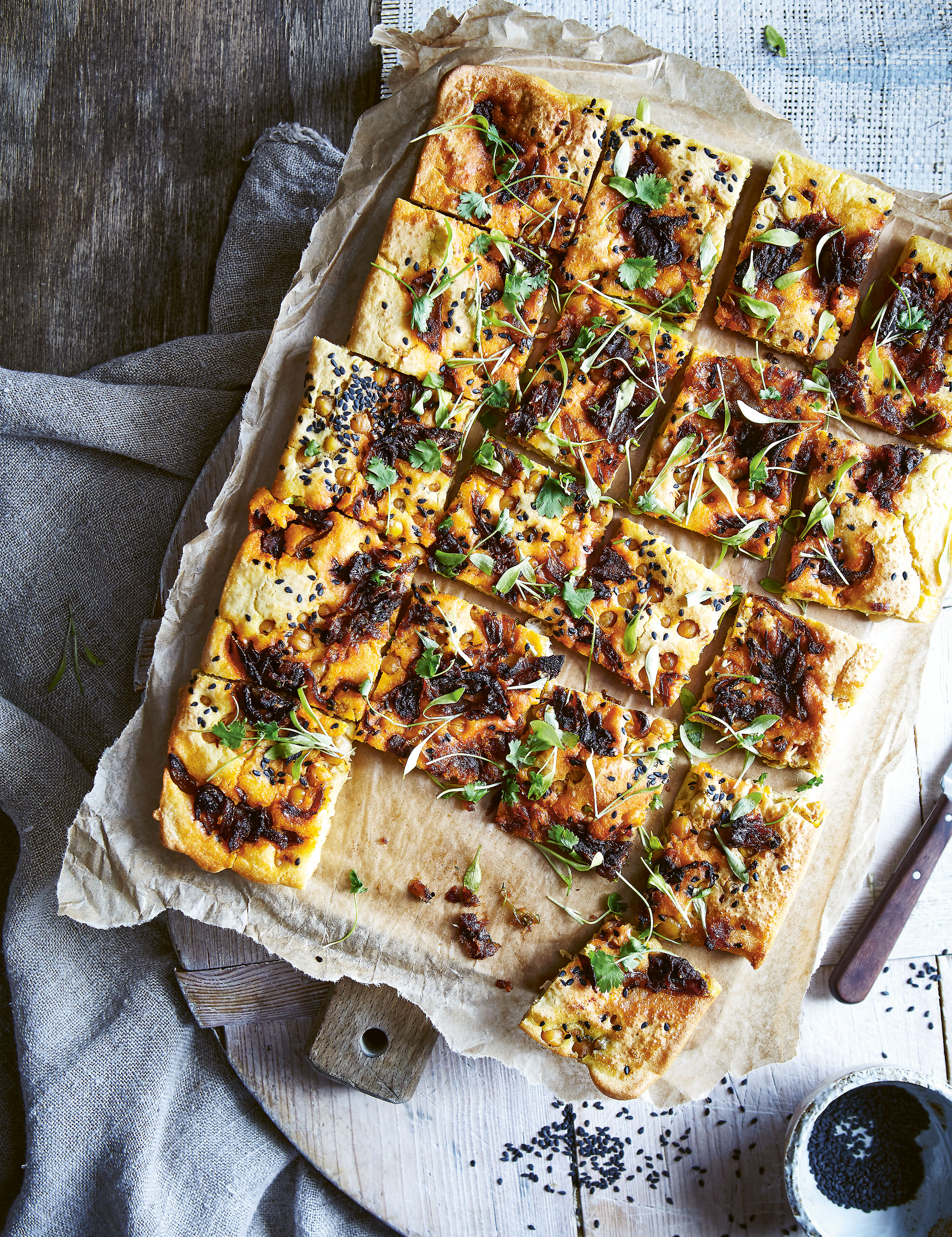 Chickpea Flatbread and Marinated Crunchy Chickpeas