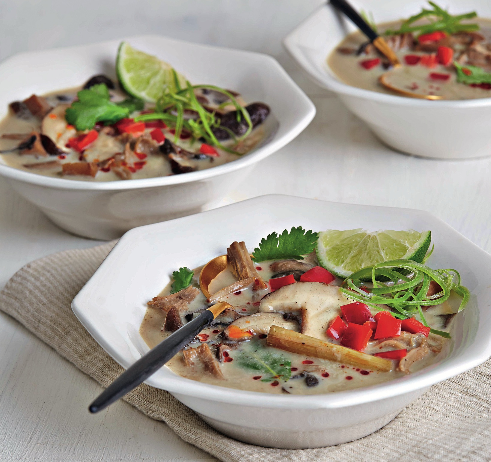 coconut soup with mushrooms and jackfruit
