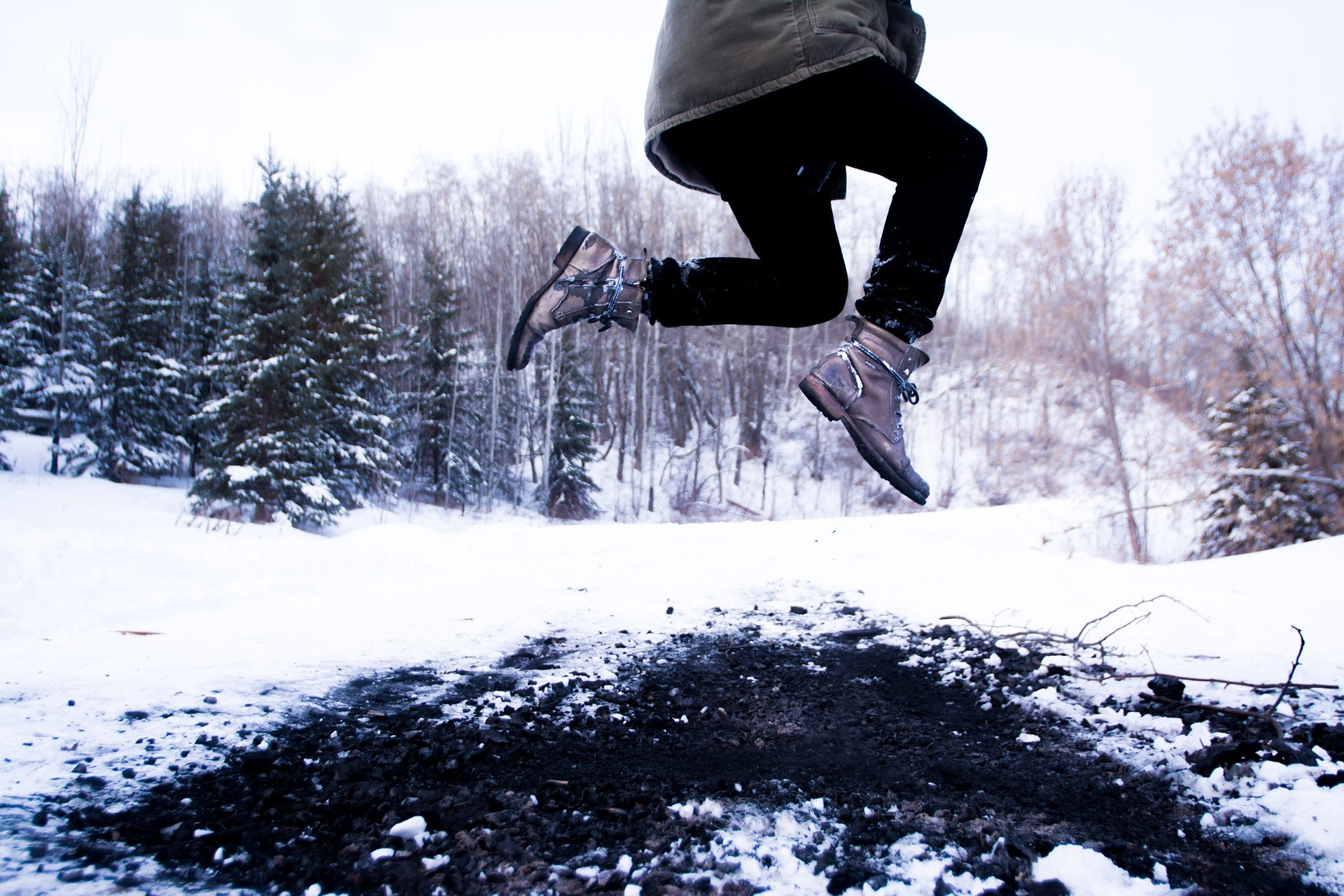 Leaping in the snow