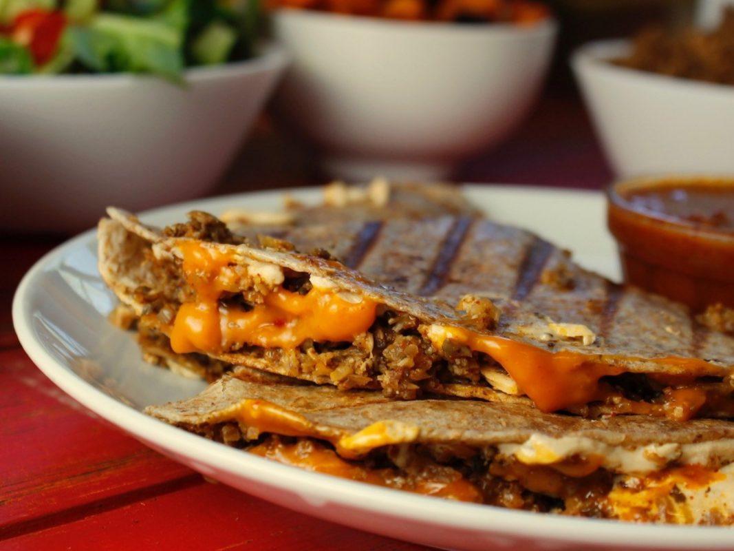 Vegan Cauliflower Walnut Taco Meat Quesadillas