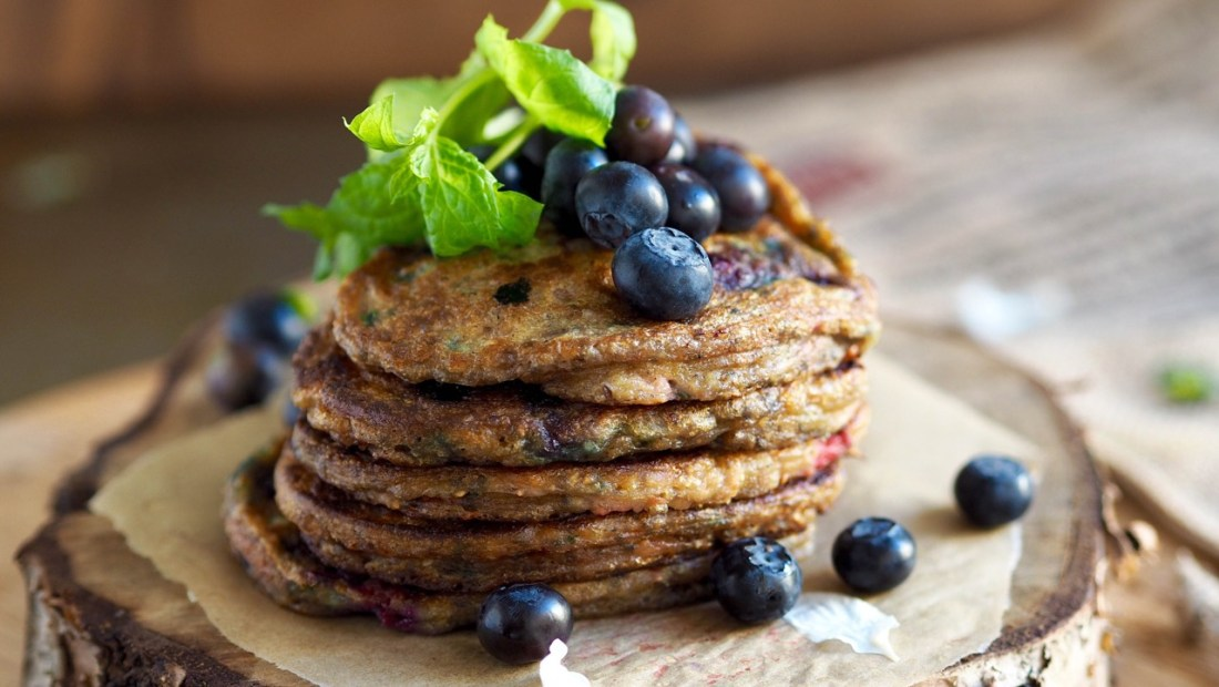 Blueberry and raspberry pancakes