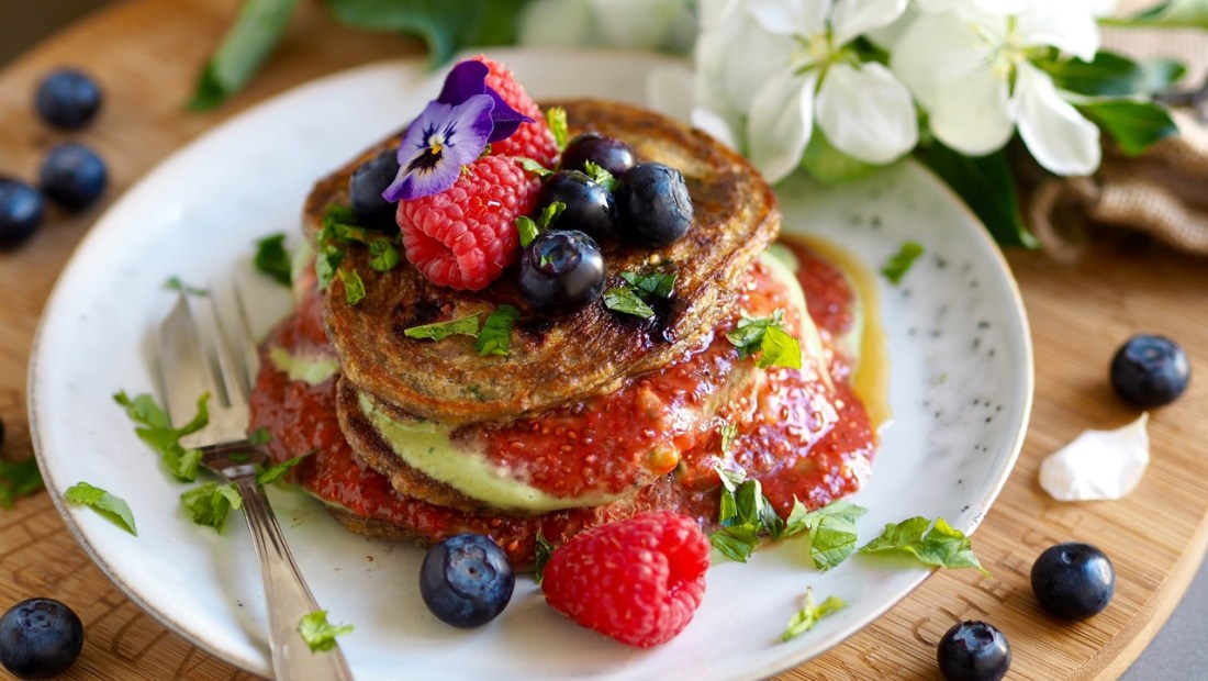 Blueberry and Raspberry Pancakes With Two Sauces [Vegan, Paleo, Refined Sugar-Free]