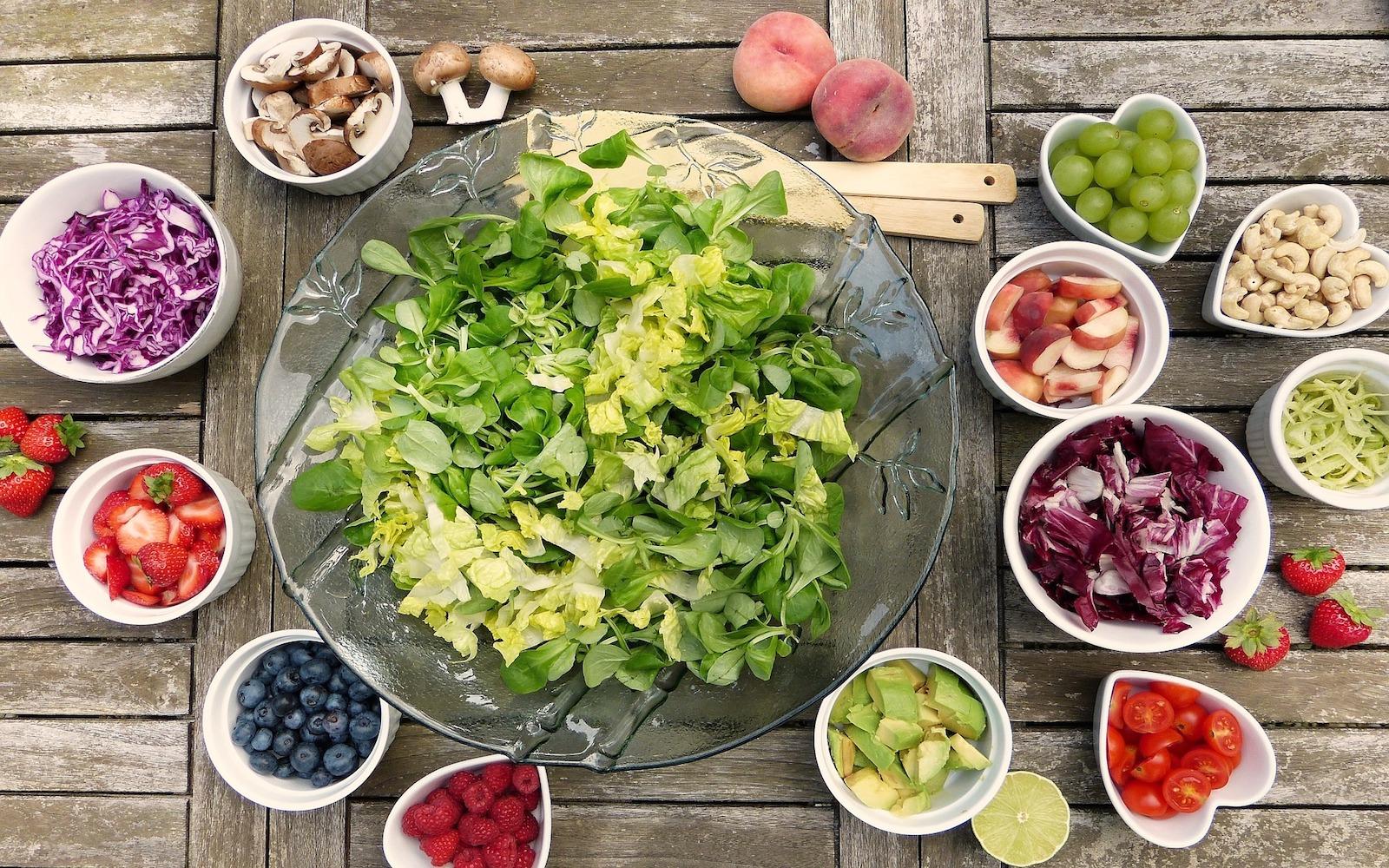Salad ingredients on table