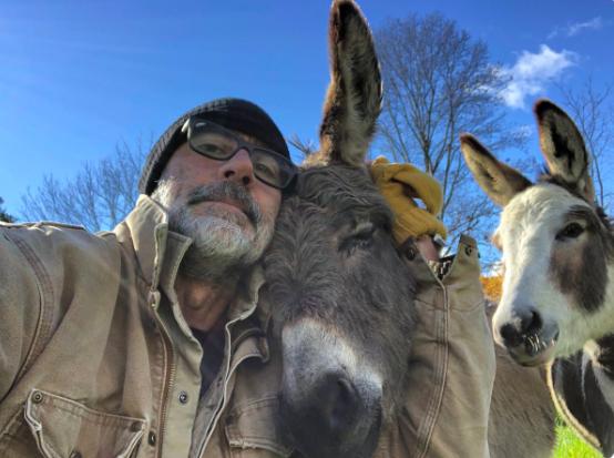 Jeffrey Dean Morgan With Emu and Donkey