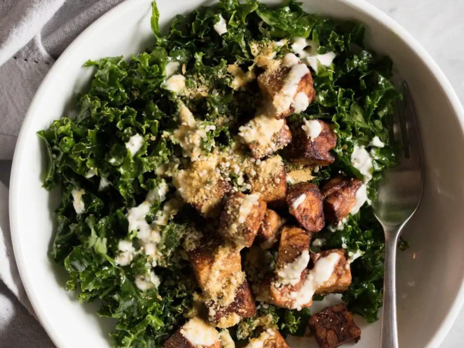 Vegan Tempeh Salad with Tahini Dressing