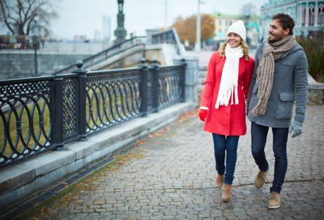 Man and woman wearing winter coats