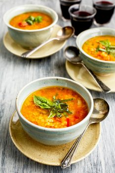 Tomato Basil Roasted Red Pepper Lentil Soup [Vegan]