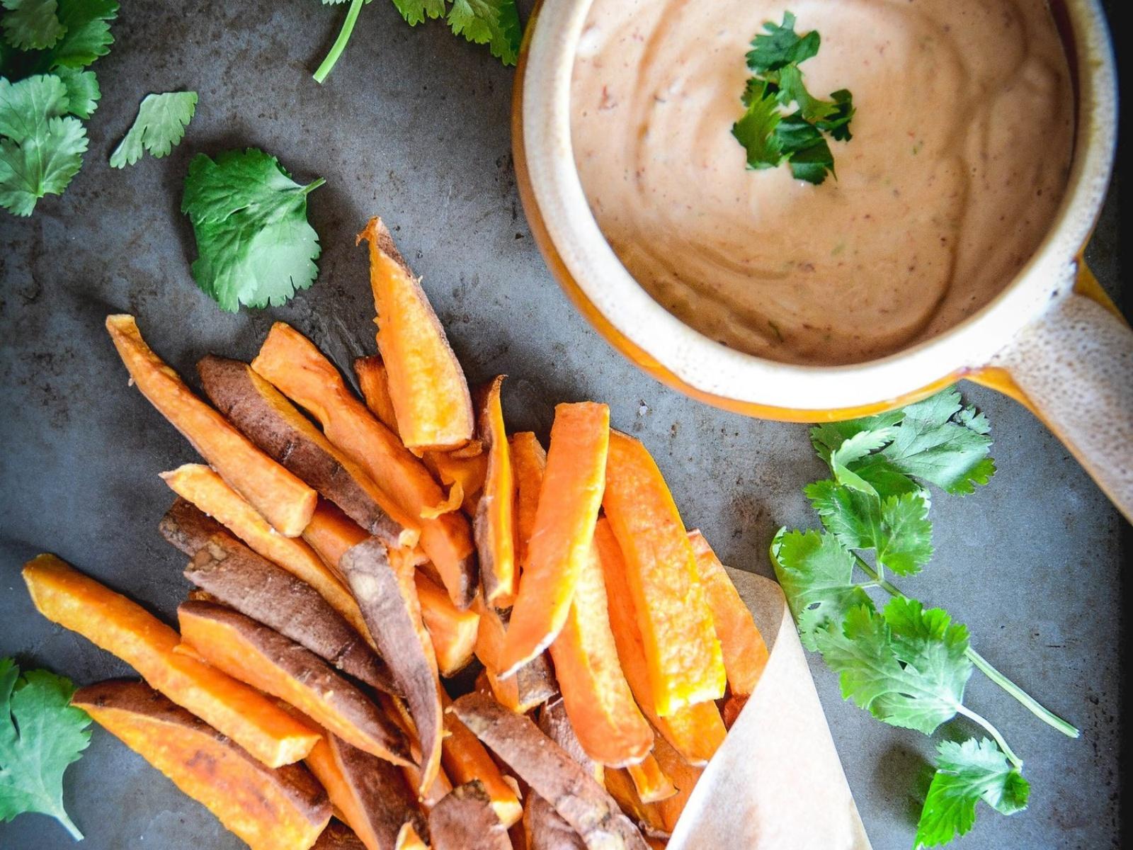 Vegan Sweet Potato Fries with Chipotle Lime Mayo