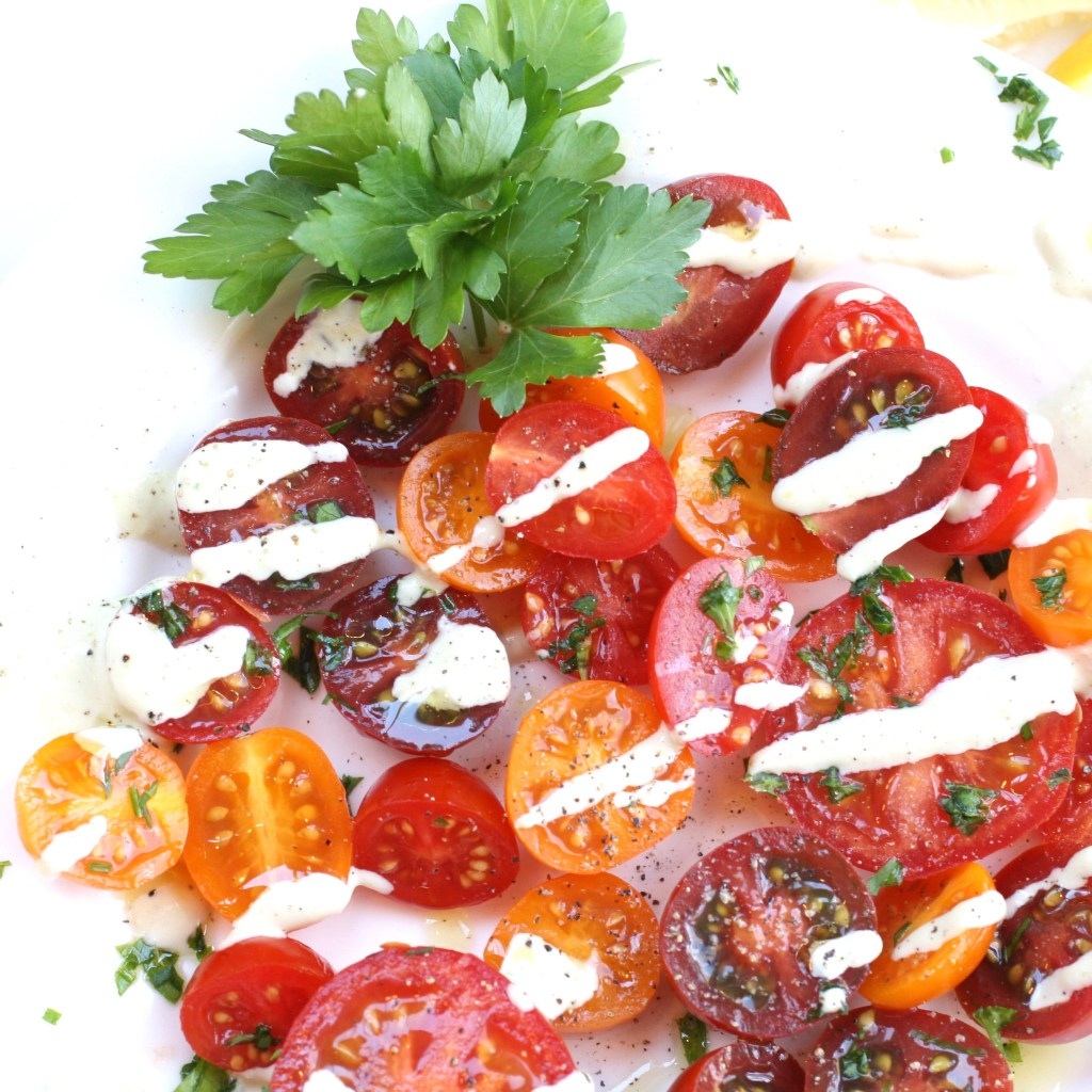 Tomato Salad With Tahini Dressing [Vegan]